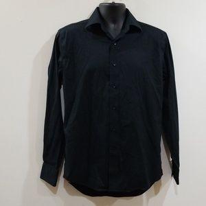 Lorenzo Uomo Shirts - Lorenzo uomo men's black button down dress shirt